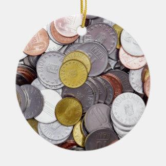 Ornement Rond En Céramique Pièces de monnaie roumaines de devise