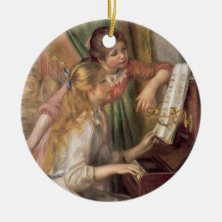 Ornement Rond En Céramique Pierre jeunes filles de Renoir un | au piano