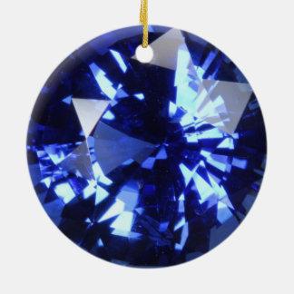 Ornement Rond En Céramique Pierre porte-bonheur bleu-foncé de septembre de