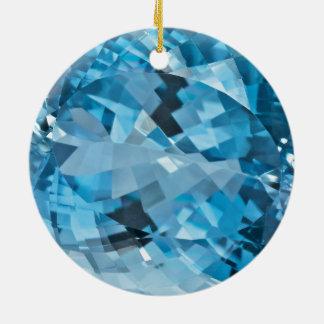 Ornement Rond En Céramique Pierre porte-bonheur bleu vert de mars de pierre