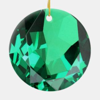 Ornement Rond En Céramique Pierre porte-bonheur verte verte riche de mai