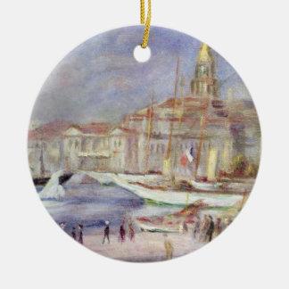 Ornement Rond En Céramique Pierre un Renoir   le vieux port de Marseille