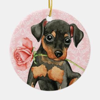 Ornement Rond En Céramique Pin rose de minute de Valentine