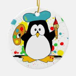 Ornement Rond En Céramique Pingouin artistique
