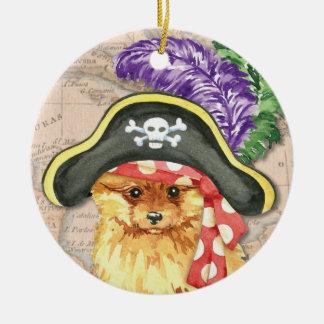 Ornement Rond En Céramique Pirate de Pomeranian