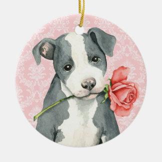 Ornement Rond En Céramique Pitbull rose de Valentine