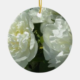 Ornement Rond En Céramique Pivoines blanches