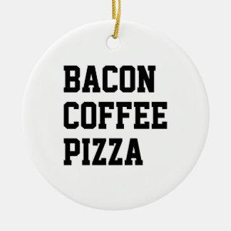 Ornement Rond En Céramique Pizza de café de lard
