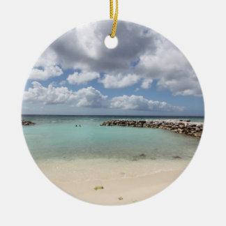 Ornement Rond En Céramique Plage sur l'île de paume de De - Aruba