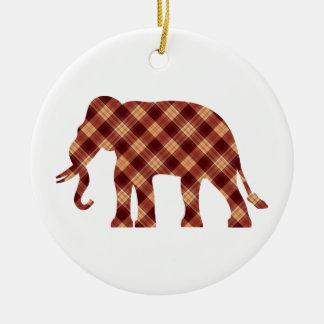 Ornement Rond En Céramique Plaid d'éléphant