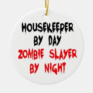 Ornement Rond En Céramique Plaisanterie de zombi de femme de charge