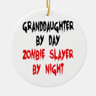 Ornement Rond En Céramique Plaisanterie de zombi de petite-fille