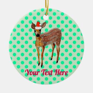Ornement Rond En Céramique Point de polka turquoise de cerfs communs de Noël