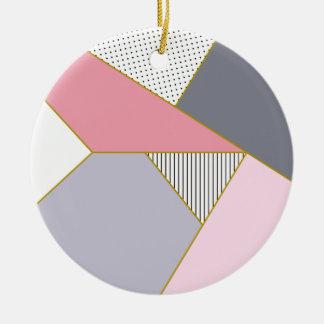 Ornement Rond En Céramique Pois géométrique élégant de rayures en pastel