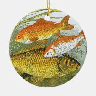 Ornement Rond En Céramique Poisson rouge aquatique vintage Koi, poisson marin