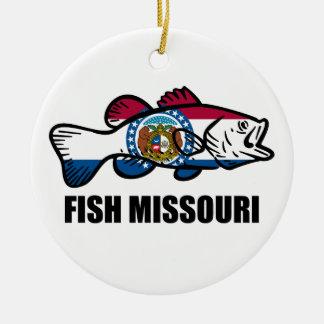 Ornement Rond En Céramique Poissons Missouri