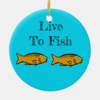 Ornement Rond En Céramique poissons nageant