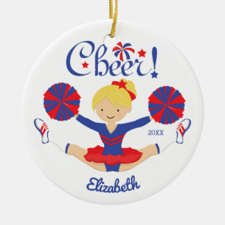 Ornement Rond En Céramique Pom-pom girl blond d'acclamation de rouge bleu