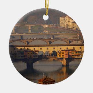 Ornement Rond En Céramique Pont de Florence, Italie