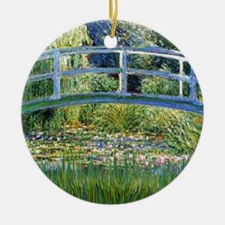 Ornement Rond En Céramique Pont d'étang de lis - insérez votre animal