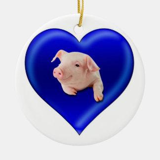 Ornement Rond En Céramique Porc à un coeur