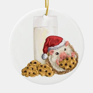 Ornement Rond En Céramique Porc de biscuit de Noël