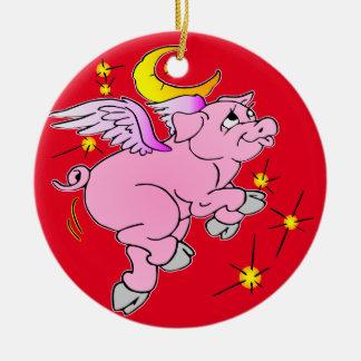 Ornement Rond En Céramique Porc rose #003 de vol