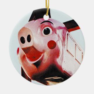 Ornement Rond En Céramique Porc rose original, riches, Noël Orn d'Atlanta