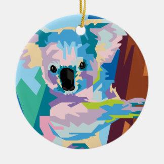 Ornement Rond En Céramique Portrait coloré de koala d'art de bruit