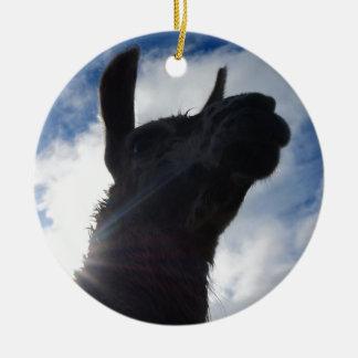 Ornement Rond En Céramique Portrait de lama