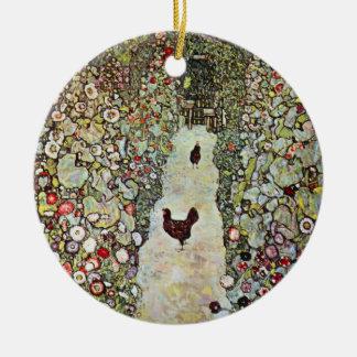 Ornement Rond En Céramique Poulets du chemin W de jardin, Gustav Klimt, art