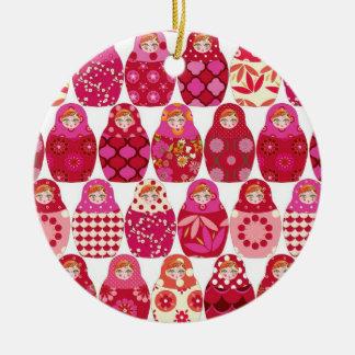 Ornement Rond En Céramique poupée russe rose