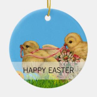 Ornement Rond En Céramique Poussins de Pâques de printemps