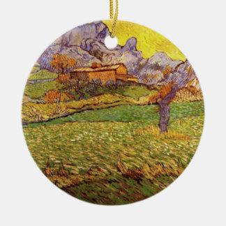 Ornement Rond En Céramique Pré de Van Gogh en montagnes : Le Mas de Saint