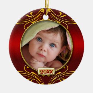 Ornement Rond En Céramique Premier cadre de photo de Noël du bébé