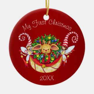 Ornement Rond En Céramique Premier Noël du bébé