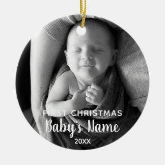 Ornement Rond En Céramique Premier Noël du bébé - calligraphie moderne