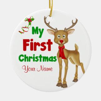 Ornement Rond En Céramique Premier renne de Noël de Babys