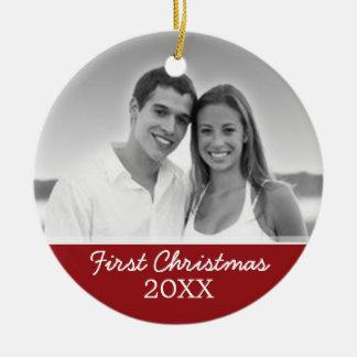 Ornement Rond En Céramique Première photo de Noël - à simple face