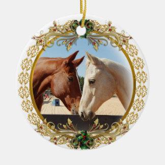 Ornement Rond En Céramique Premiers chevaux de Noël