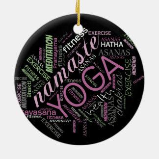 Ornement Rond En Céramique Prune de nuage de mot de yoga/ID254 vert