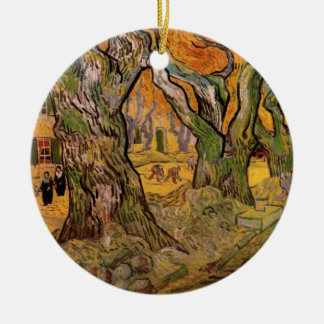 Ornement Rond En Céramique Raccomodeurs de route de Van Gogh, post