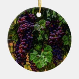 Ornement Rond En Céramique Raisins ensoleillés de vignoble de la Toscane de