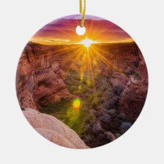 Ornement Rond En Céramique Rayon de soleil chez Canyon de Chelly, AZ