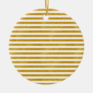 Ornement Rond En Céramique Rayure élégante d'or - coutume votre couleur