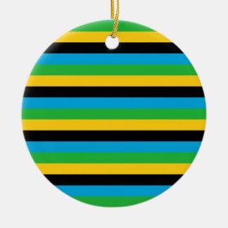 Ornement Rond En Céramique Rayures de drapeau de la Tanzanie