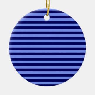 Ornement Rond En Céramique Rayures minces - bleu-clair et bleu-foncé
