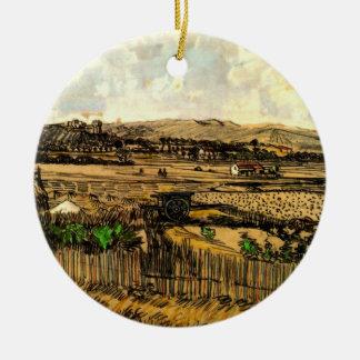 Ornement Rond En Céramique Récolte de Van Gogh en Provence, beaux-arts