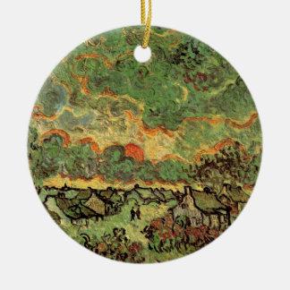 Ornement Rond En Céramique Réminiscence de cyprès de cottages de Van Gogh de