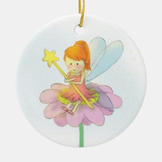 Ornement Rond En Céramique Repos féerique mignon sur l'ornement de fleur